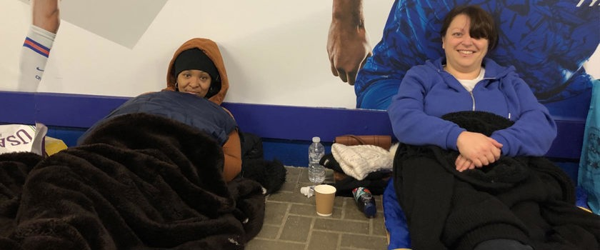 Maxine and Diana at Stanford Bridge Sleep Out