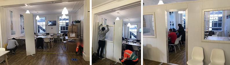 Installation of temporary walls by Westgate UK in a Glass Door hostel