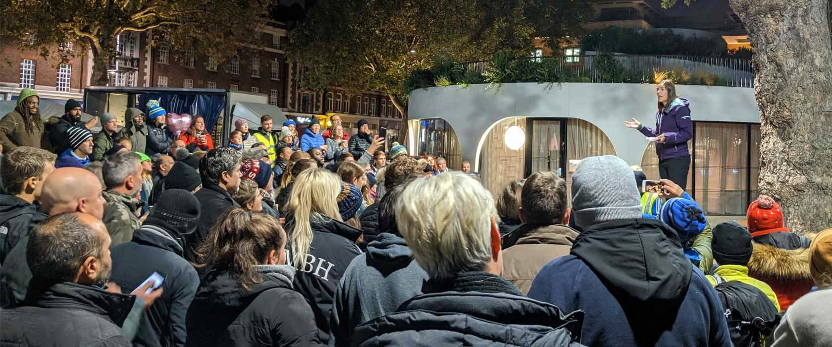 Lucy addresses Sleep Out gathering