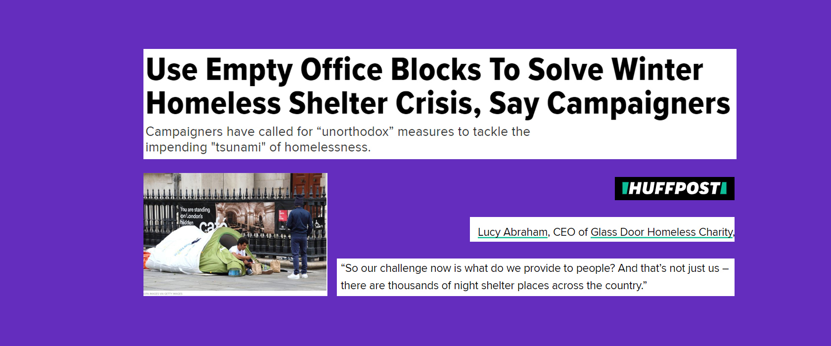 'Winter homeless shelter crisis' in Huffington Post